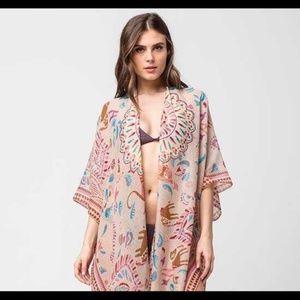 Woven Heart BOHO open free size Kimono Duster OS